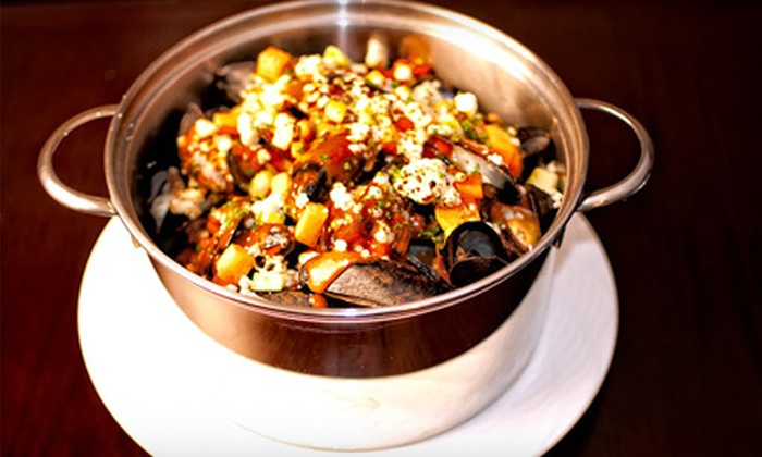 The Mussel Pot - Greenwich Village: Mussels Dinner for Two with Sides or Wine or Both at The Mussel Pot (Up to 55% Off)