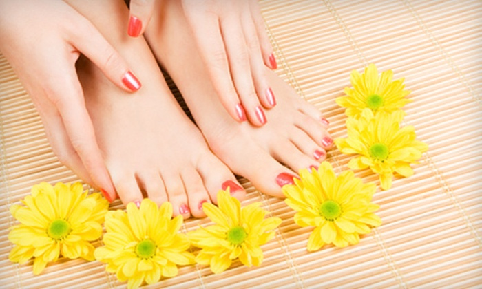 Aspen Salon and Day Spa - MacDonald Ranch: Regular or Gel Manicure with Spa Pedicure at Aspen Salon and Day Spa in Henderson (Up to 56% Off)