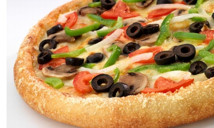 $11 for Two Medium Two-Topping Pizzas, Cheese Bread, and 2-Liter Soda at Hungry Howie's Pizza ($26.75 Value)