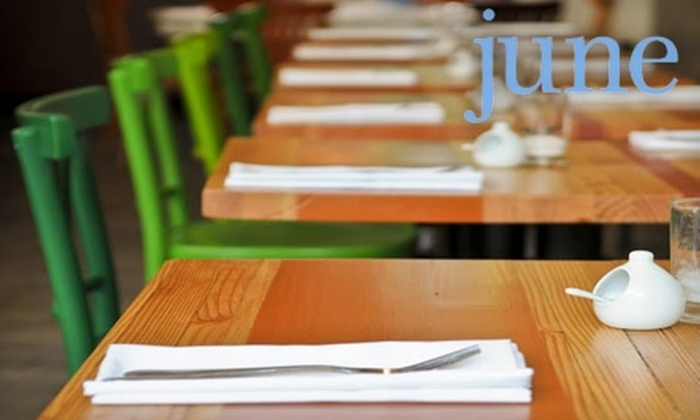 June - Madrona: $17 for $35 Worth of Upscale Dinner and Drinks at June (or $10 for $20 Worth of Brunch)