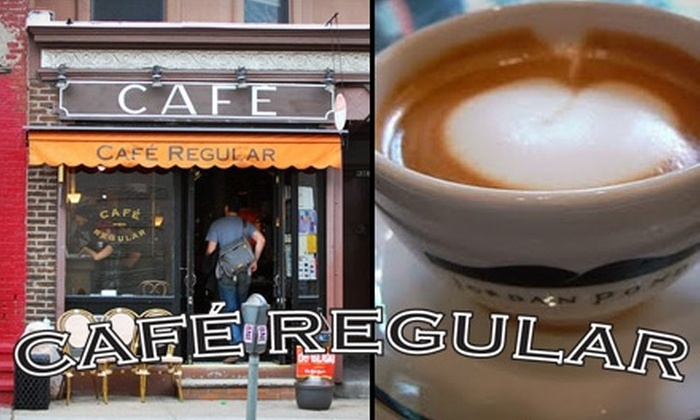 Café Regular - Multiple Locations: $25 for a Cup of Coffee Every Day for 30 Consecutive Days at Café Regular (Up to $135 Value). Choose One of Two Locations.