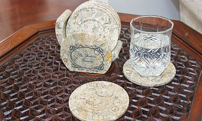 Marble Products International: Custom Onyx, Fossil Stone, Green Zebra, or Coral Marble Coasters from Marble Products International (Half Off)