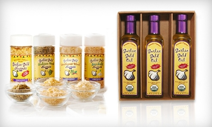 Garlic Oil and Nuggets from Garlic Gold: Garlic Gold Extra Virgin Olive Oil or Garlic Gold Nugget Sampler (Up to 47% Off)
