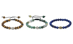 Natural Gemstone Mental Wellness Bracelets With Buddha Charm