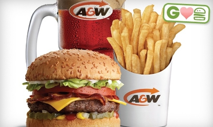 A&W Restaurant - Multiple Locations: $5 for Burger, Fries, and Soft Drink at A&W Restaurant (Up to $10.83 Value)
