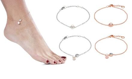 1 of 2 armbandjes voor pols en enkel in verguld goud 18 krt met Swarovskikristallen