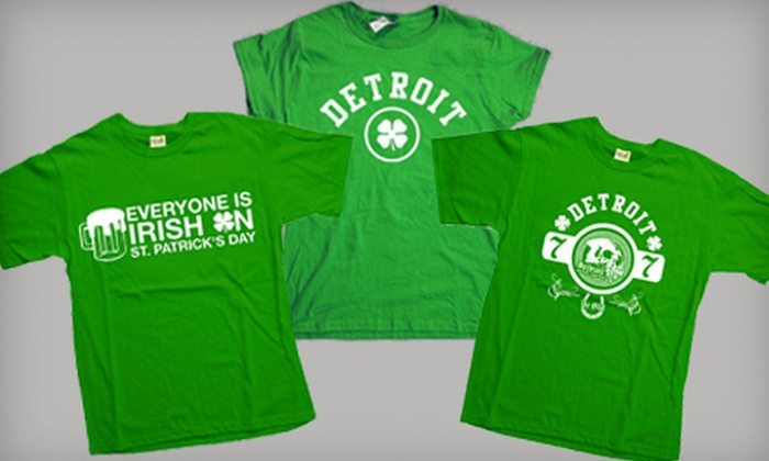 Detroit Motor Apparel: One or Two St. Patrick's Day T-Shirts from Detroit Motor Apparel (Up to 52% Off)