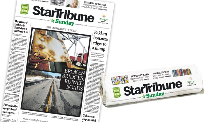 "Minneapolis Star Tribune: 52-Week Sunday-Edition Print Subscription from ""Star Tribune"" for Metro Area or Statewide (Up to 78% Off)"