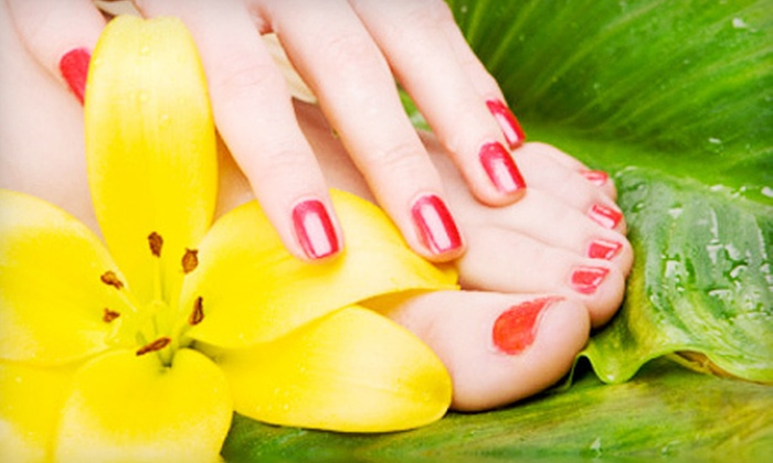 Shelly's Art of Nails - San Antonio: Shellac Manicure & Spa Pedicure or Spa Manicure & Hot-Stone Pedicure Package at Shelly's Art of Nails (Up to 61% Off)