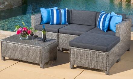 Lorita outdoor wicker sectional sofa set 5 piece groupon for Sectional sofa groupon