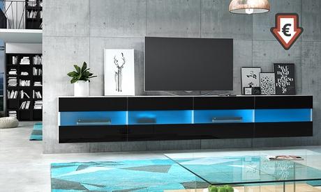 Mueble de TV flotante Brico normal o doble con luz LED de color azul