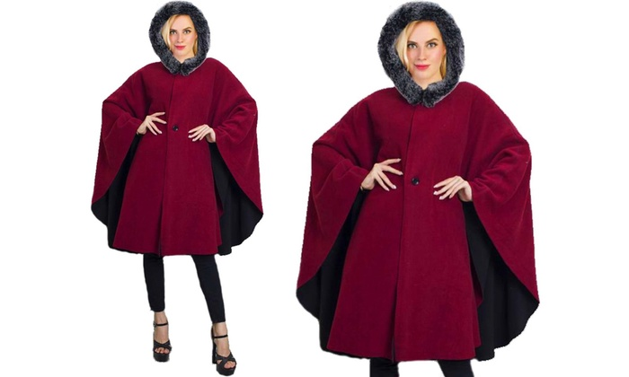 cac48574b Women's Winter Cape Jacket with Faux Shearling Hood