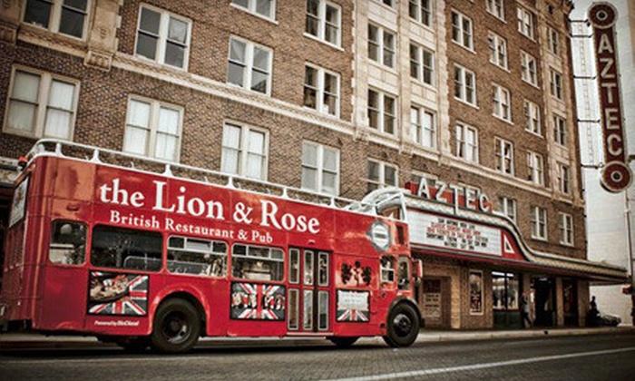 The Lion & Rose British Restaurant & Pub - Multiple Locations: $125 for a 3-Hour Double-Decker-Bus Pub-Crawl Experience for Up to 45 from The Lion & Rose British Restaurant & Pub ($398 Value)