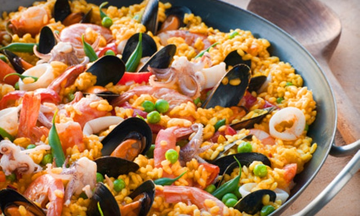 Mambo Jambo - Alpharetta: Two-Course Latin-American Dinner for Two Including Goat-Cheese Salad and Paella de Mariscos with Option of Drinks at Mambo Jambo in Alpharetta