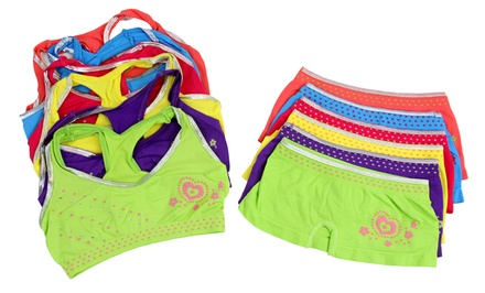 Girls' Printed Racerback Bras and Boyshorts in Assorted Colors (6-Pack)