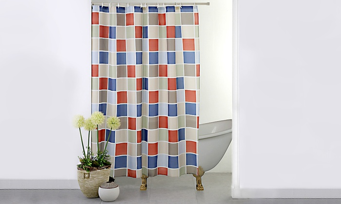Checkered Water Resistant Shower Curtain