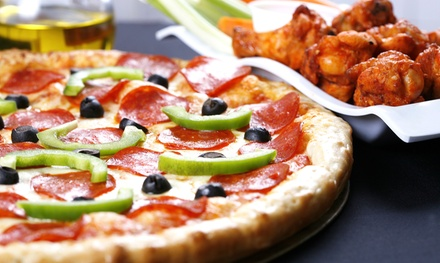 Pizza, Wings, and Burgers at Buffalo Brothers Pizza & Wing Company (Up to 45% Off). Two Options Available.