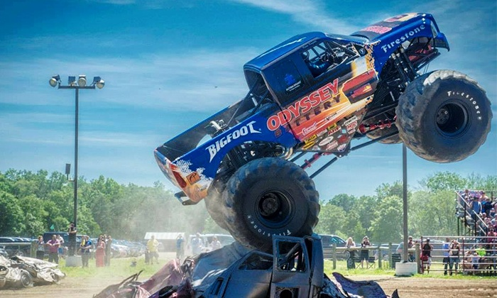 Night of Fire and Destruction: Monster Truck and Motorcycle Thrill Show - Maple Grove Raceway: KSR Monster Truck and Motorcycle Thrill Show at Maple Grove Raceway on Sunday, September 6, at 7 p.m. (Up to 70% Off)