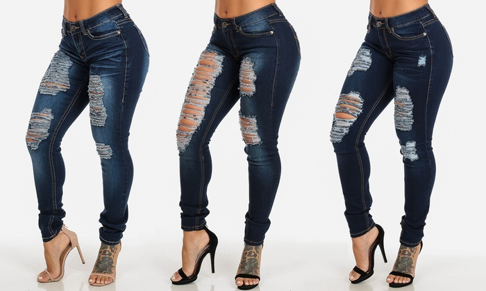 Women's Ripped Skinny Jeans | Groupon Goods