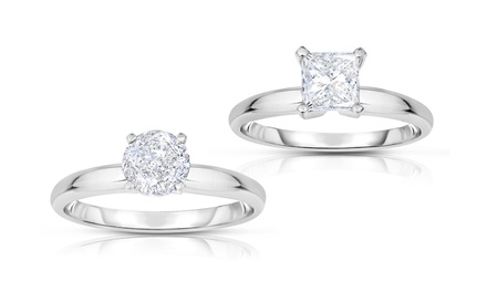 1.00 CTTW Round or Princess-Cut Diamond Solitaire Ring in 14K White Gold