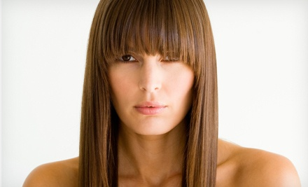 Haircut with Options for Single-Process Color or Highlights, or Keratin Smoothing Treatment at L K Salon (Up to 73% Off)