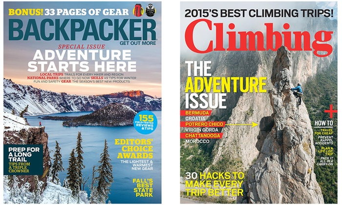 """Blue Dolphin Magazines: """"Backpacker"""" and """"Climbing"""" Magazine Subscriptions (Up to 50% Off)"""