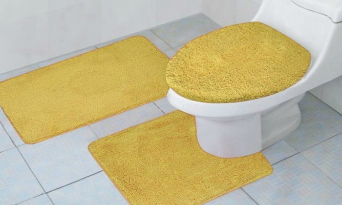 Plush Bathroom Rug Set 3 Piece Groupon