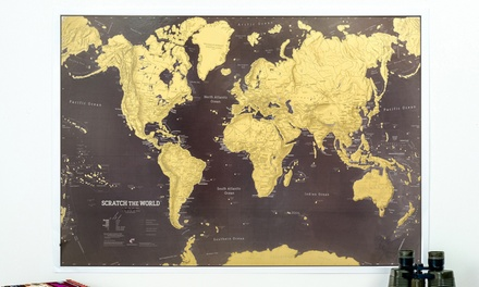 One or two scratch the world map posters from groupon uk coupons this world map poster is covered in a layer of gold foil which can be scratched off in various places to showcase visited destinations gumiabroncs Choice Image