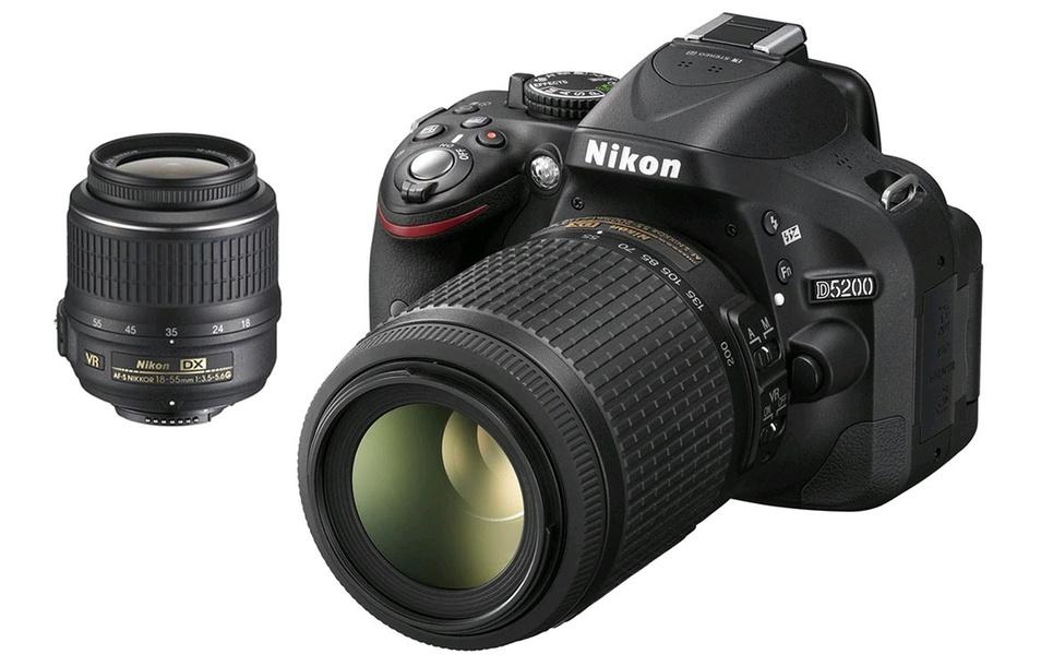 Nikon D5200 24.1MP DSLR Camera with 18–55mm and 55–200mm Lens Bundle (Refurbished)