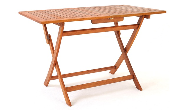 Salon de jardin bois d 39 acacia marron groupon shopping for Mesa plegable groupon