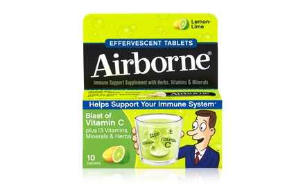Airborne Lemon-Lime Immune Support Supplement; 6-Pack of 10ct Boxes + 5% Back in Groupon Bucks