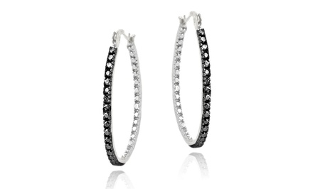 Black Diamond-Accented 33mm Hoop Earrings