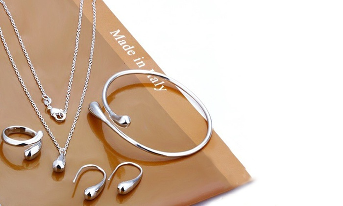 Chainz Jewellery: $19 for a Sterling-Silver Plated Tear Drop Necklace, Earrings, Ring and Bangle Set