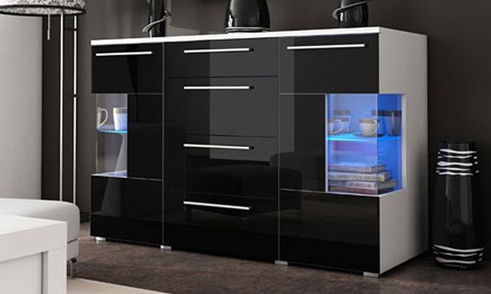 Buffet laqué à LED blanc, noir ou gris | Groupon Shopping