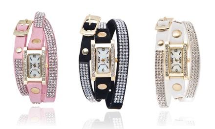 Relógio de mulher com bracelete com cristais disponível em 3 cores por 8,99€