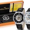 Stuhrling Original Men's Skeletonized Mechanical Legacy Watch Set