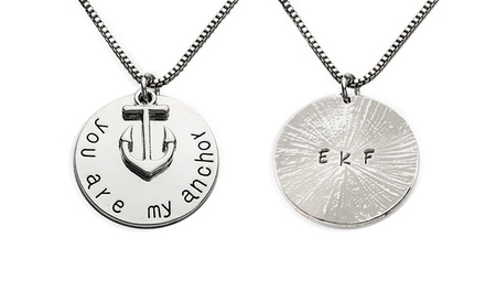 You are My Anchor Hand Stamped Charm Pendant with Personalization Option from Stamp the Moment (1 or 2Pack)