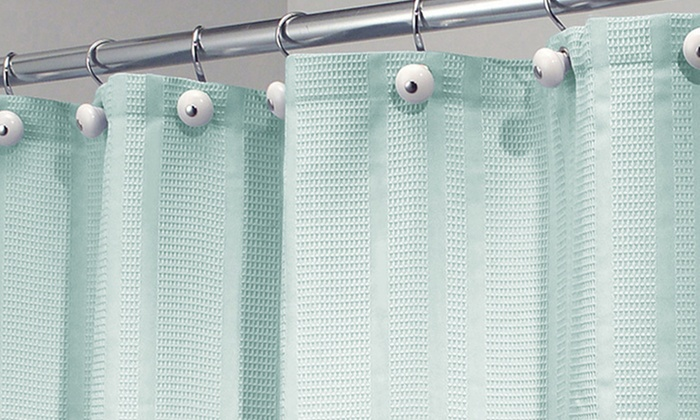 westin seaglass waffle weave fabric shower curtain groupon. Black Bedroom Furniture Sets. Home Design Ideas