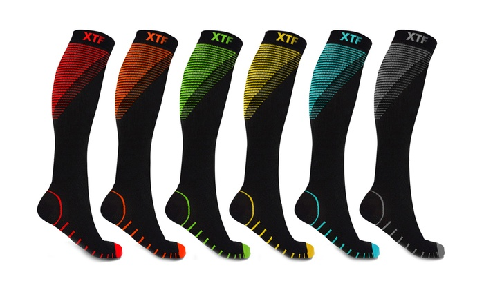 XTF Graduated Knee-High Compression Socks (6 Pairs)