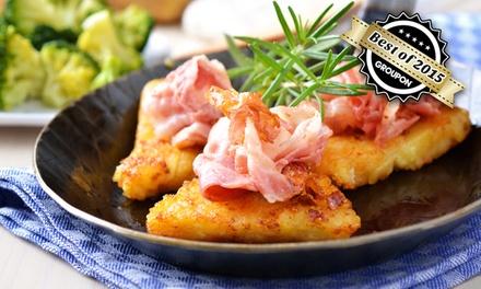 Reibekuchenplatte für Zwei, Vier oder Sechs mit Roastbeef, Lachs und Apfelmus im Gasthaus zur Eule ab 12,50 €