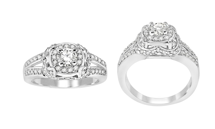 Diamond 14-Karat White Gold Ring: 1/2 CTTW Diamond Ring in 14K Gold