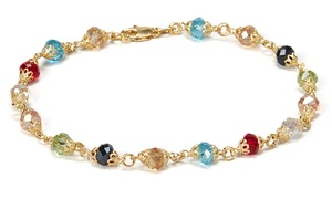 18k Gold-plated Anklet With Multicolor Swarovski Element Crystals