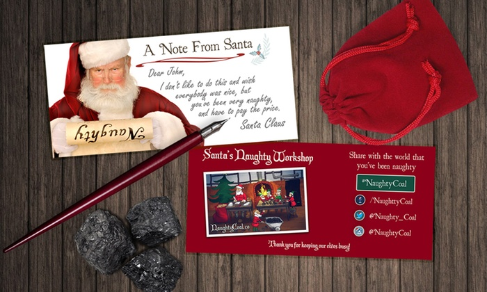 NaughtyCoal: $10 for a Pouch of Coal and a Custom Card from Santa from Naughty Coal ($20 Value)