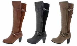 Shoes Of Soul Heeled Boots With Adjustable Calves