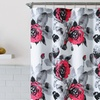 Floral Design Fabric Shower Curtain with 12 Roller Hooks