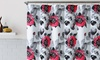 Floral Design Fabric Shower Curtain with 12 Roller Hooks: Floral Design Fabric Shower Curtain with 12 Roller Hooks