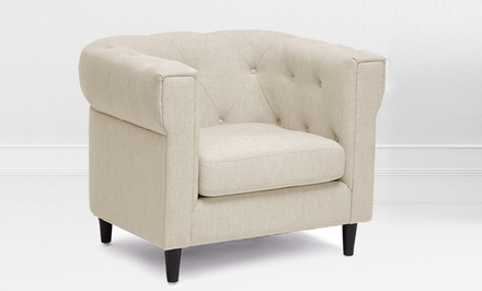 Cortland Modern Chesterfield Chair in Beige Linen Upholstery