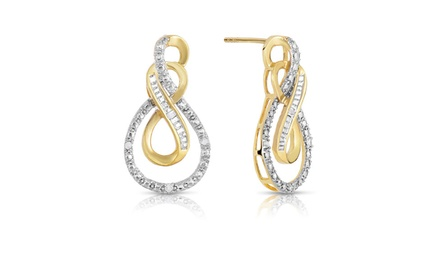 Genuine Diamond Accent Infinity Earrings in Gold Plated Brass