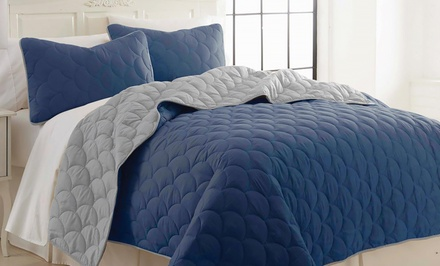 3-Piece Solid Reversible Coverlet Set