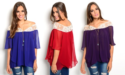 Women's Chiffon Flutter Top
